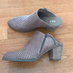 Tan heeled mules by Report